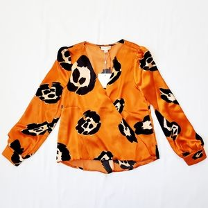 NWT Honey Punch Leopard Crossover Blouse